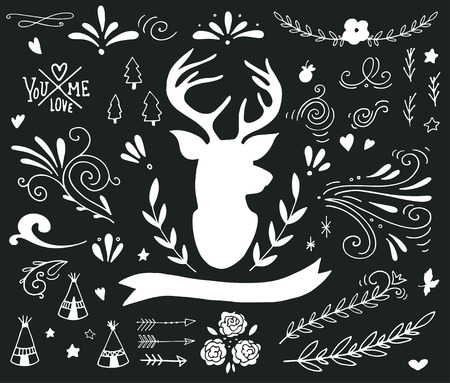 floral elements: Hand drawn vintage set with a reindeer and different design elements on blackboard banner, branches, flowers, lettering, curls