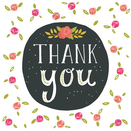 Thank you. Greeting card with hand lettering and flowers. Ilustração