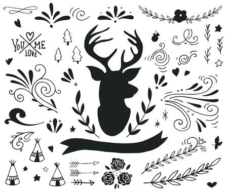 cabeza: Dibujado a mano conjunto de la vendimia con un reno y diferentes elementos de diseño (banner, ramas, flores, letras, rizos)