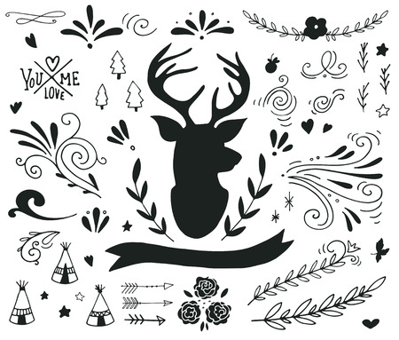 renna: Disegnata a mano set vintage con una renna e diversi elementi di design (banner, rami, fiori, lettere, riccioli) Vettoriali