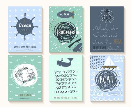Set van hand getekende vintage nautische kaarten met grunge patronen en texturen. Deze afbeeldingen kunnen gebruikt worden als posters, flyers of wenskaarten.