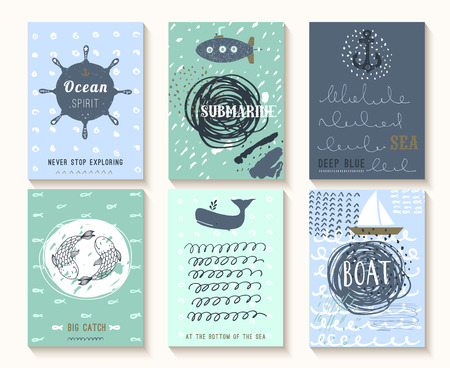 Set of hand drawn vintage nautical cards with grunge patterns and textures. This illustrations can be used as posters, flyers or a greeting cards.