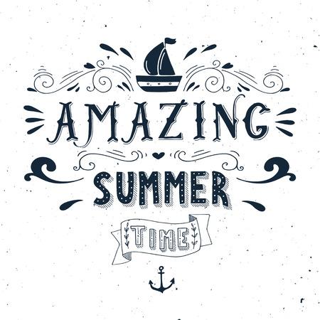 ANCLA: Dibujado a mano cosecha de impresi�n con un barco, ancla y letras de la mano. Esta ilustraci�n se puede utilizar como una tarjeta de felicitaci�n o como una impresi�n en camisetas y bolsas.