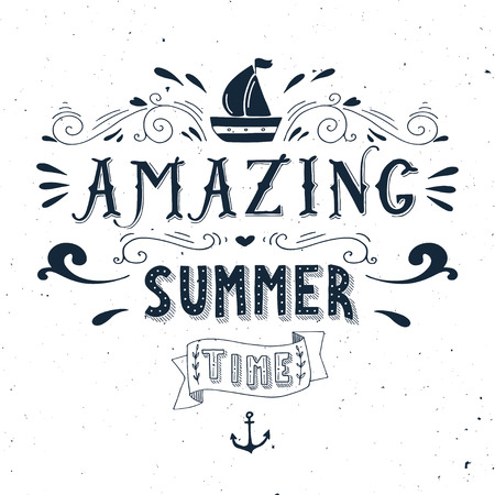 Hand drawn vintage print with a boat, anchor and hand lettering. This illustration can be used as a greeting card or as a print on T-shirts and bags. Ilustração