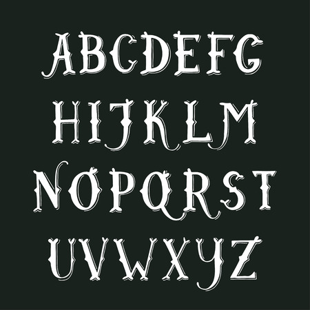 font alphabet: Vintage hand drawn decorative serif alphabet on blackboard Illustration