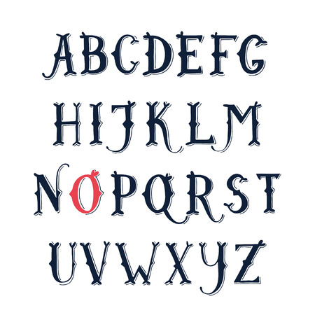 western: Vintage hand drawn decorative serif alphabet.