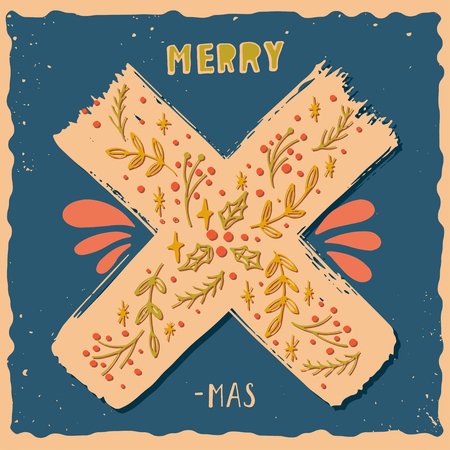decoration elements: Merry X-mas. Christmas poster with hand lettering and decoration elements on grunge background.