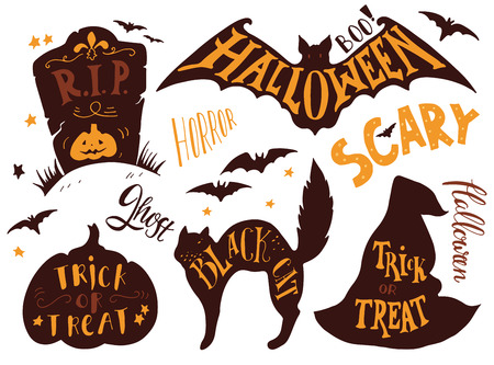 Colección de los símbolos de Halloween con letras de la mano. Truco o, horror, miedo, gato negro, rip, fantasma, abucheo. Lápida, palo, gato, sombrero de bruja, calabaza.
