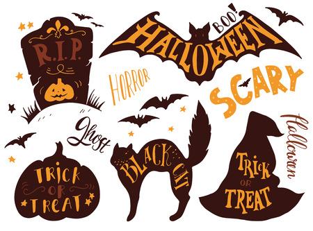 wiedźma: Zbiór symboli Halloween z ręki literami. Cukierek albo psikus, horror, straszne, czarny kot, rip, duch, boo. Nagrobek, nietoperz, kot, kapelusz czarownicy, dynia.
