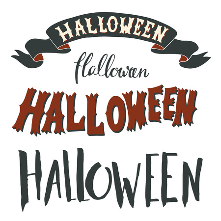 halloween symbol: Collection of Halloween hand lettering isolated on white background.