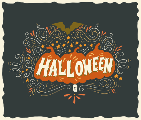 halloween poster: Halloween poster with hand lettering, silhouette of three pumpkins, bat, stars, skull and ornaments on dark background. Illustration