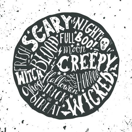 czarownica: Halloween ręcznie drukiem na okrągłym tle z grunge tekstury. Czaszka, krew, gwiazdy i nietoperze. Słowa: przerażające nocne, creepy, horror, zły, czarownica, duch, księżyc w pełni, boo, trick or treat.
