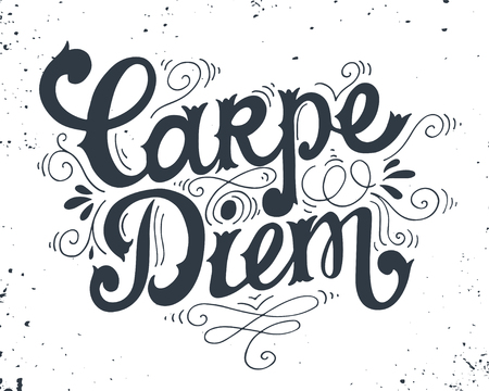 """Carpe diem (lat. """"Pluk de dag""""). Quote. Hand getekend vintage print met de hand belettering. Deze afbeelding kan worden gebruikt als een print op t-shirts en tassen of als een poster."""