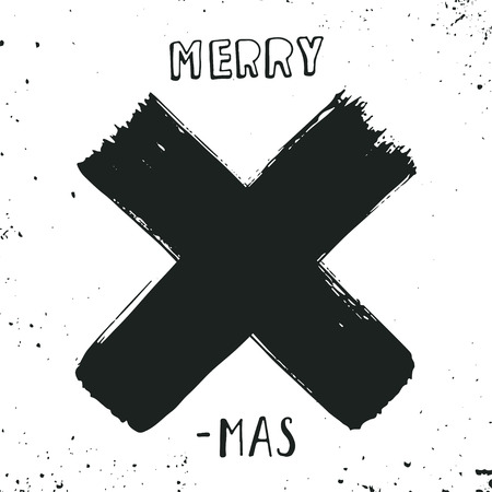 grunge background: Merry X-mas. Christmas poster with hand lettering and decoration elements on grunge background.