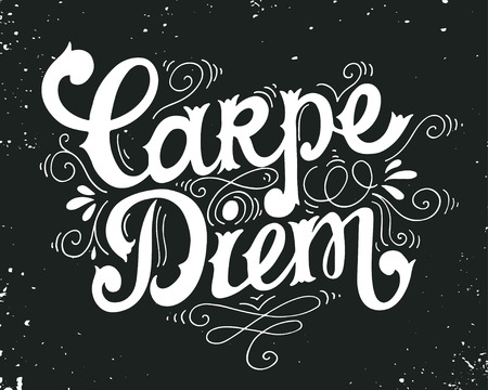 to seize: Carpe diem (lat. seize the day). Quote. Hand drawn vintage print with hand lettering on blackboard. This illustration can be used as a print on t-shirts and bags or as a poster. Illustration