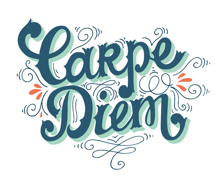 Carpe diem (lat. seize the day). Quote. Hand drawn vintage print with hand lettering. This illustration can be used as a print on t-shirts and bags or as a poster.