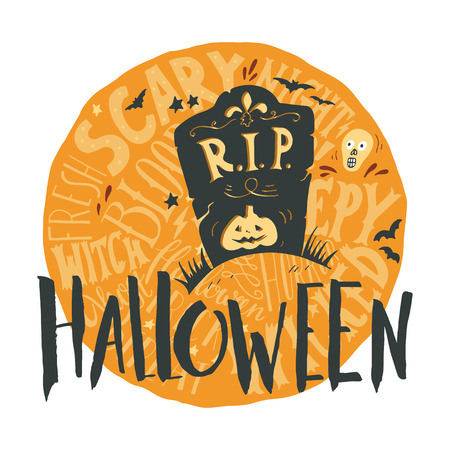 headstone: Happy halloween grunge emblem with a headstone and hand lettering on full moon in back.