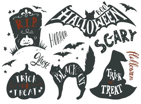 bate: Colección de los símbolos de Halloween con letras de la mano. Truco o, horror, miedo, gato negro, rip, fantasma, abucheo. Lápida, palo, gato, sombrero de bruja, calabaza.