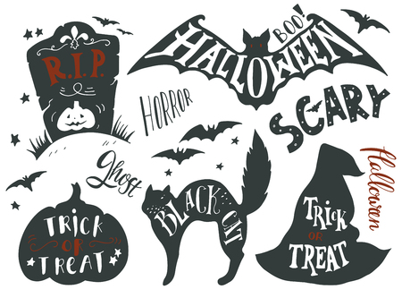 witch hat: Collection of Halloween symbols with hand lettering. Trick or treat, horror, scary, black cat, r.i.p., ghost, boo. Headstone, bat, cat, witch hat, pumpkin.