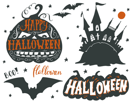 boo: Collection of black silhouettes of Halloween symbols with hand lettering. Quotes. Happy Halloween, boo, ghost castle, bat, pumpkins and full moon.