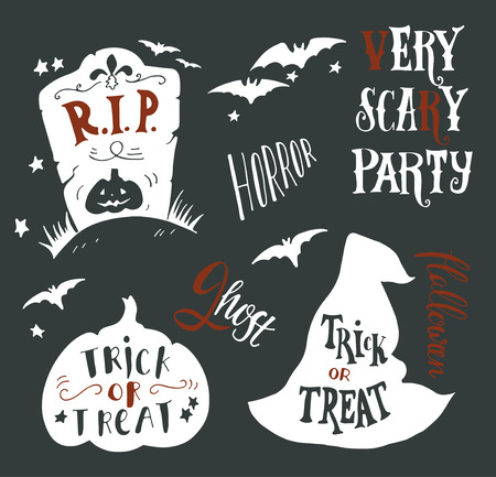 boo: Collection of Halloween symbols with hand lettering. Trick or treat, horror, very scary party, r.i.p., ghost, boo. Headstone, bat, witch hat, pumpkin.