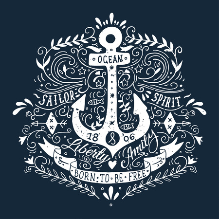 ocean: Hand drawn vintage label with an anchor and lettering on blackboard Stock Photo