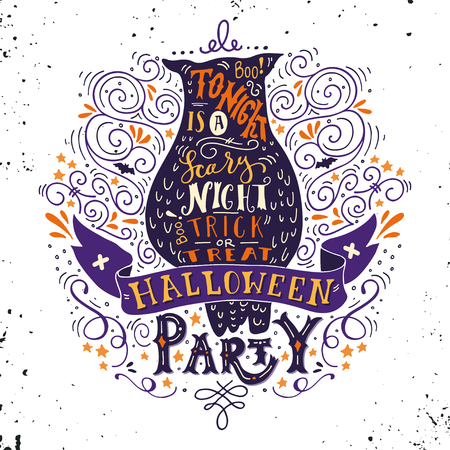 tonight: Halloween party poster with an old owl, hand lettering, banner and ornaments. Tonight is a very scary party. Trick or treat. This illustration can be used as a greeting card, poster or print.