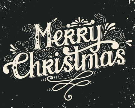 joyeux noel: Joyeux Noël affiche rétro avec des éléments de lettrage à la main et de la décoration. Cette illustration peut être utilisé comme une carte de voeux, affiche ou copie. Illustration