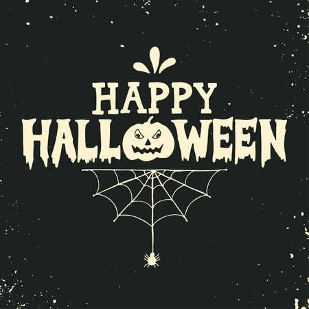 Hand drawn Happy Halloween lettering with a pumpkin and spider web on grunge background. This illustration can be used as a greeting card, poster or print.
