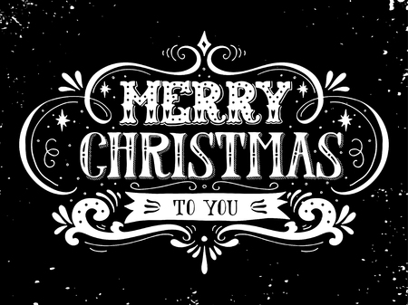 decoration elements: Merry Christmas retro poster with hand lettering and decoration elements. This illustration can be used as a greeting card, poster or print.