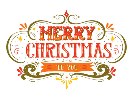 Merry Christmas retro poster with hand lettering and decoration elements. This illustration can be used as a greeting card, poster or print.