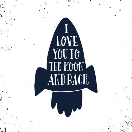 나는 너를 달과 등 뒤로 사랑한다. 로맨틱 한 견적 손으로 그려진 된 포스터. 이 그림은 발렌타인 데이 또는 날짜 카드 또는 인쇄 저장 사용할 수 있습