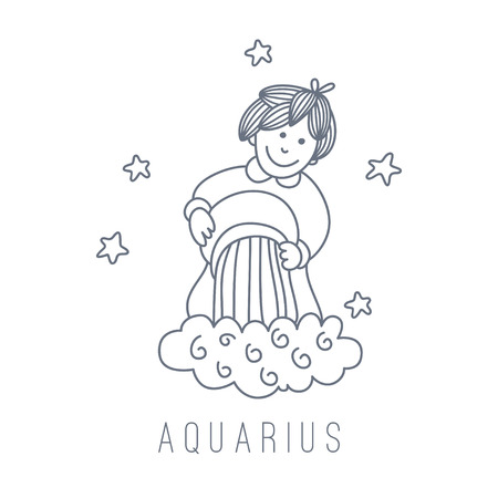 waterbearer: Illustration of the water-bearer (Aquarius). Part of the set with horoscope zodiac signs. This illustration can be used as a greeting card, poster or print.