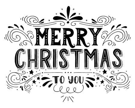 retro font: Merry Christmas retro poster with hand lettering and decoration elements. This illustration can be used as a greeting card, poster or print.