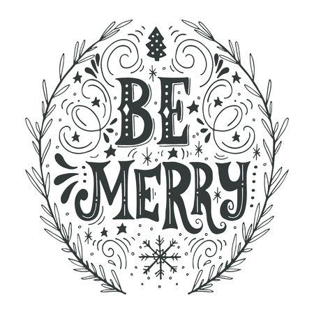 text: Merry Christmas retro poster with hand lettering, wreath and decoration elements. This illustration can be used as a greeting card, poster or print.