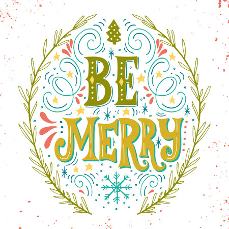 Merry Christmas retro poster with hand lettering, wreath and decoration elements. This illustration can be used as a greeting card, poster or print.