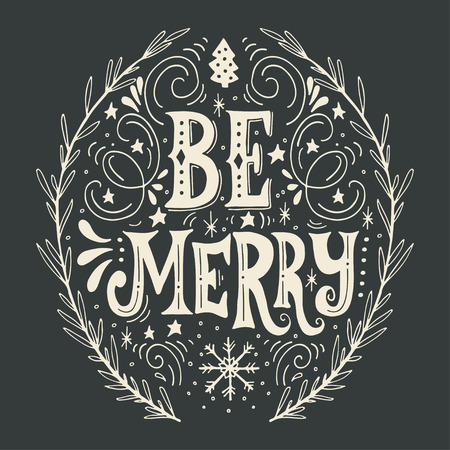 retro christmas: Merry Christmas retro poster with hand lettering, wreath and decoration elements. This illustration can be used as a greeting card, poster or print.