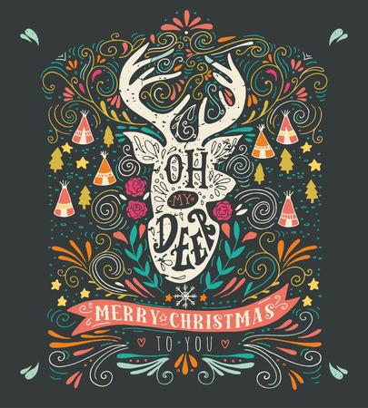 reno: Oh ciervos. Feliz Navidad. Vintage mano dibuja ilustraci�n con una silueta de renos, elementos de dise�o floral y las letras. Esta ilustraci�n se puede utilizar como una tarjeta de felicitaci�n, cartel o impresi�n.