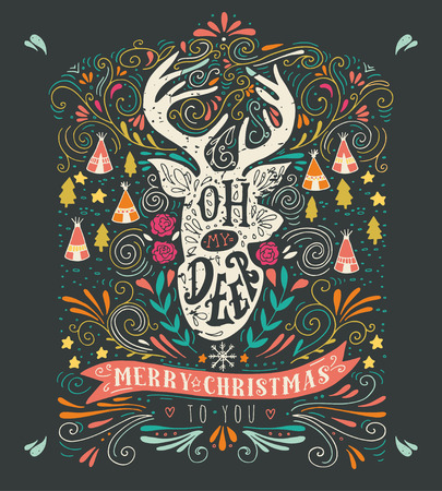 reindeer: Oh my deer. Merry Christmas. Vintage hand drawn illustration with a reindeer silhouette, floral design elements and lettering. This illustration can be used as a greeting card, poster or print.