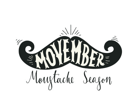 moustache: Hand drawn vintage poster with moustache and hand lettering. Illustration