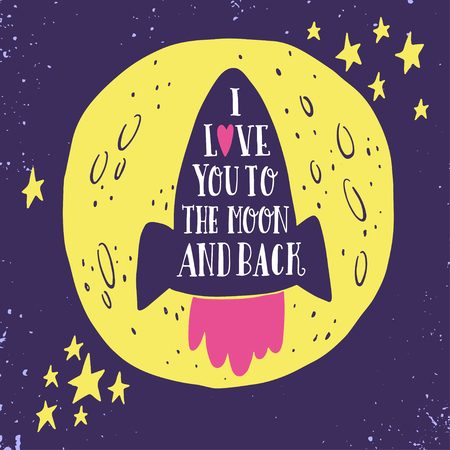 Te quiero hasta la luna y más allá. Dibujado a mano cartel con una cita romántica. Esta ilustración se puede utilizar para el día de San Valentín o la tarjeta de fecha o imprimir.