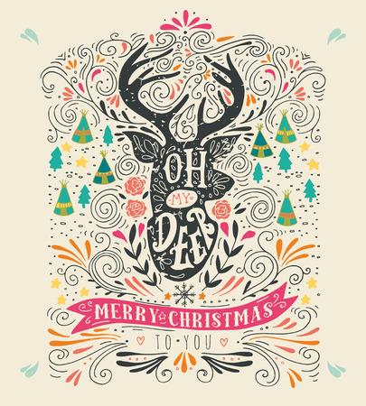 renna: Oh mio cervo. Buon Natale. Mano vintage illustrazione disegnata con una silhouette renna, elementi di design floreale e lettering. Questa illustrazione pu� essere utilizzato come biglietto di auguri, poster o la stampa.