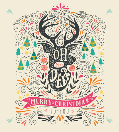 reindeers: Oh my deer. Merry Christmas. Vintage hand drawn illustration with a reindeer silhouette, floral design elements and lettering. This illustration can be used as a greeting card, poster or print.