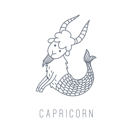 goat capricorn: Illustration of the goat (Capricorn). Part of the set with horoscope zodiac signs. This illustration can be used as a greeting card, poster or print. Illustration