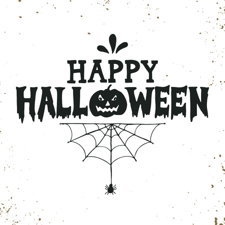 spider: Hand drawn Happy Halloween lettering with a pumpkin and spider web on grunge background. This illustration can be used as a greeting card, poster or print.