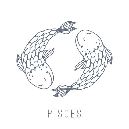 Illustratie van vissen (Pisces). Een deel van de set met horoscoop sterrenbeelden. Deze afbeelding kan gebruikt worden als een wenskaart, poster of druk.
