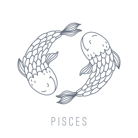 Illustration of fishes (Pisces). Part of the set with horoscope zodiac signs. This illustration can be used as a greeting card, poster or print. Stok Fotoğraf - 45687369