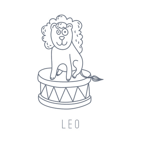 mythological character: Illustration of the lion (Leo). Part of the set with horoscope zodiac signs. This illustration can be used as a greeting card, poster or print.