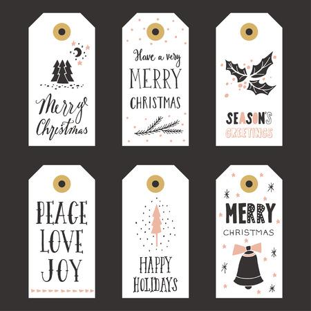 Etiquetas de regalo de Navidad de la vendimia Foto de archivo - 47392417