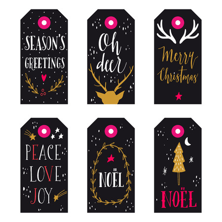 christmas gift: Collection of Christmas gift tags with hand lettering isolated on white background